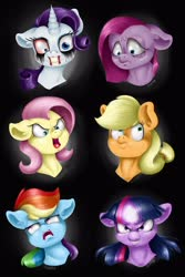 Size: 2000x3000 | Tagged: safe, artist:valemjj, applejack, fluttershy, pinkie pie, rainbow dash, rarity, twilight sparkle, pony, anti-elements, evil mane six, head, mane six, mean six, pinkamena diane pie