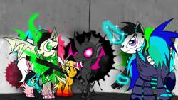 Size: 1280x720 | Tagged: safe, alternate version, artist:didun850, oc, oc only, oc:chilling, oc:dull, oc:feather breeze, oc:hydro rose, oc:mango, oc:samm, alicorn, bat pony, changeling, changepony, hybrid, pegasus, pony, alicorn oc, bat pony oc, clothes, curved horn, disguise, disguised changeling, ear piercing, earring, fangs, female, freckles, glowing horn, gun, hair over eyes, horn, jewelry, magic, mare, piercing, raised hoof, signature, socks, striped socks, telekinesis, weapon