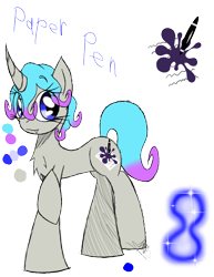 Size: 888x1150 | Tagged: safe, artist:didun850, oc, oc only, oc:paper pen, pony, unicorn, chest fluff, eye clipping through hair, female, glow, mare, raised hoof, reference sheet, signature, simple background, smiling, solo, sombra eyes, text, transparent background