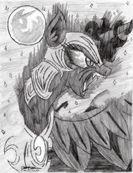 Size: 739x960 | Tagged: safe, artist:petanoprime, nightmare moon, alicorn, pony, bust, dark magic, fangs, female, full moon, grayscale, helmet, magic, mare, mare in the moon, monochrome, moon, night, open mouth, peytral, stars, traditional art