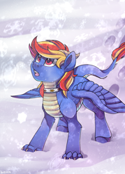 Size: 2500x3500 | Tagged: safe, artist:breioom, oc, oc:draco flames, dracony, dragon, hybrid, pony, collar, male, paws, snow, snowflake, solo, wings