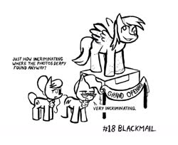 Size: 1280x1046 | Tagged: safe, artist:owlor, derpy hooves, mayor mare, raven, blackmail, statue