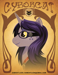 Size: 2550x3300 | Tagged: safe, artist:samoht-lion, oc, oc only, oc:cyborcat, cat, pony, unicorn, bust, clothes, female, freckles, goggles, mare, ponified, smiling, solo, text