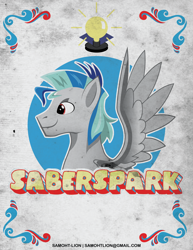 Size: 2550x3300 | Tagged: safe, artist:samoht-lion, oc, oc only, oc:saberspark, pegasus, pony, bust, lightbulb, male, pegasus oc, smiling, solo, stallion, text, wings