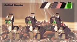 Size: 3000x1644 | Tagged: safe, artist:charlotteartz, oc, oc:salted mocha, earth pony, pony, bald, bow, female, mare, reference sheet, solo, tail bow