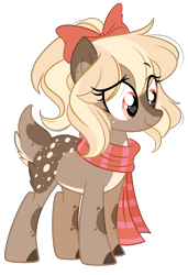 Size: 1975x2884 | Tagged: safe, artist:emberslament, oc, oc only, oc:cookie doe, deer, deer pony, original species, bow, clothes, eye clipping through hair, female, freckles, hair bow, heart eyes, scarf, simple background, solo, transparent background, wingding eyes
