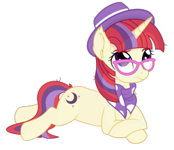 Size: 3261x2811 | Tagged: safe, artist:cyanlightning, artist:slb94, moondancer, pony, unicorn, clothes, female, glasses, hat, hipster, mare, prone, scarf, simple background, transparent background