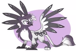 Size: 2048x1391 | Tagged: safe, artist:emberslament, oc, oc only, griffon, adoptable, cute, griffon oc, simple background, spread wings, white background, wings