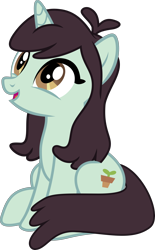 Size: 2000x3216 | Tagged: safe, anonymous artist, sprout greenhoof, pony, unicorn, female, las pegasus resident, mare, simple background, sitting, solo, transparent background, vector