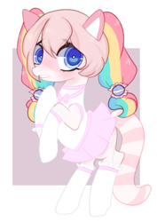 Size: 450x635 | Tagged: safe, artist:peachesandcreamated, oc, oc only, unnamed oc, earth pony, pony, abstract background, blushing, clothes, cute, garters, miniskirt, multicolored hair, nervous, pigtails, rainbow hair, rearing, shy, skirt, socks, solo, stockings, thigh highs, ych result