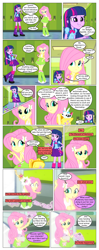 Size: 612x1551 | Tagged: safe, artist:greatdinn, artist:newbiespud, edit, edited screencap, screencap, angel bunny, fluttershy, spike, twilight sparkle, dog, rabbit, comic:friendship is dragons, equestria girls, equestria girls (movie), animal, backpack, clothes, collaboration, comic, cutie mark on clothes, dialogue, element of magic, frown, hairclip, lockers, paw prints, pointing, sad, screencap comic, wide eyes