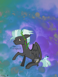 Size: 1080x1440 | Tagged: safe, artist:speedy draw, soarin', thunderlane, pegasus, pony, clover, colored sketch, cute, digital art, flower, flower in hair, plushie, solo, thunderbetes