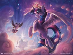 Size: 1024x768 | Tagged: safe, artist:jennifer l. meyer, owlowiscious, twilight sparkle, alicorn, bird, owl, pony, big crown thingy, book, cloud, cute, duo, element of magic, eyes closed, female, flying, hoof shoes, jewelry, magic the gathering, mare, official, ponies the galloping, regalia, spread wings, twiabetes, twilight sparkle (alicorn), twilight's castle, wings