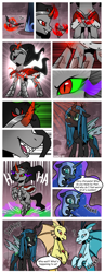Size: 1500x3900 | Tagged: safe, artist:nancy-05, adagio dazzle, aria blaze, king sombra, nightmare moon, queen chrysalis, sonata dusk, changeling, pony, siren, umbrum, unicorn, comic:fusing the fusions, comic:time of the fusions, alicorn amulet, argument, chest, clothes, comic, commissioner:bigonionbean, confusion, dialogue, dungeon, evil planning in progress, fangs, female, forced, fusion, gem, imminent fusion, jewelry, magic, mare, necklace, nodding, prison, queen umbra, regalia, rule 63, siren gem, smiling, smirk, sombra eyes, spell, spirit, tartarus, the dazzlings, vein bulge, wingless, writer:bigonionbean