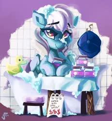 Size: 1280x1385   Tagged: safe, artist:saxopi, oc, oc only, oc:ice, pegasus, pony, bath, bathtub, gamer girl bath water, hat, reference, rubber duck, solo