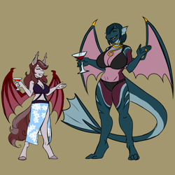 Size: 2160x2160 | Tagged: safe, artist:burningsnowflakeproductions, oc, oc:emerald sea, oc:scarlet quill, anthro, bat pony, digitigrade anthro, dragon, unguligrade anthro, bat pony oc, big breasts, bikini, bikini top, breasts, clothes, colored sketch, conversation, digital art, dragon oc, dragoness, eyes closed, female, friends, glass, laughing, mare, milf, ring, simple background, smiling, swimsuit, wedding ring, wine glass