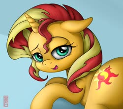 Size: 1280x1129 | Tagged: safe, alternate version, artist:celsian, sunset shimmer, pony, unicorn, bedroom eyes, cropped, cute, female, floppy ears, mare, open mouth, shimmerbetes, solo