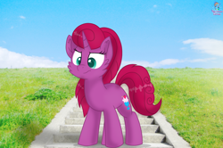 Size: 1902x1266 | Tagged: safe, artist:rainbow eevee, oc, oc only, oc:betty pop, pony, unicorn, beautiful, beautiful background, cute, cutie mark, grass, ibispaint x, irl, magical lesbian spawn, offspring, parent:glitter drops, parent:tempest shadow, parents:glittershadow, photo, sky, solo, stairs, unamused, vibrant colours