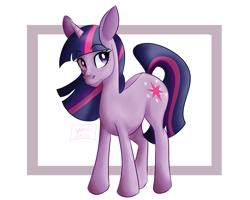 Size: 1280x1024 | Tagged: safe, artist:yuriio-nice, twilight sparkle, pony, unicorn, female, lightly watermarked, mare, simple background, solo, unicorn twilight, watermark, white background
