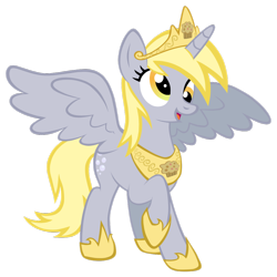 Size: 256x256 | Tagged: safe, artist:fedumedu, edit, editor:theglitchedwolf, derpy hooves, alicorn, pony, alicornified, best pony, best princess, crown, derpicorn, food, happy, jewelry, muffin, muffin queen, race swap, raised hoof, regalia, simple background, solo, white background, wings