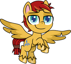 Size: 1500x1359 | Tagged: safe, artist:cloudyglow, flash magnus, pegasus, pony, my little pony: pony life, flying, lidded eyes, looking at you, male, raised hoof, scrunchie, simple background, solo, stallion, transparent background