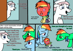 Size: 893x626 | Tagged: safe, artist:didgereethebrony, nurse redheart, rainbow dash, oc, oc:didgeree, oc:lightning dash, oc:oliver, pegasus, pony, comic:rainbow dash x oliver, baby, baby pony, dialogue, diaper, foal, newborn, offspring, parent:oc:oliver, parent:rainbow dash, parents:canon x oc, rainbow fur, trace