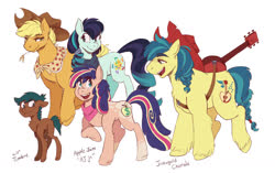 Size: 1280x805 | Tagged: safe, artist:overlordneon, applejack, coloratura, oc, oc:apple jam, oc:jonagold chorale, oc:lil' timbre, earth pony, pony, bandana, colt, cowboy hat, family, female, filly, foal, guitar, hat, lesbian, magical lesbian spawn, male, mare, musical instrument, next generation, offspring, parent:applejack, parent:coloratura, parents:rarajack, rarajack, shipping, simple background, stallion, straw in mouth, white background