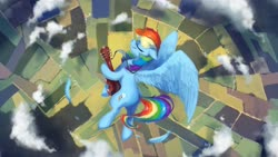 Size: 2560x1440 | Tagged: safe, artist:anticular, rainbow dash, pegasus, pony, bird's eye view, cloud, cloudy, eyes closed, feather, female, field, flying, guitar, mare, musical instrument, overhead view, scenery, solo, song art, wings