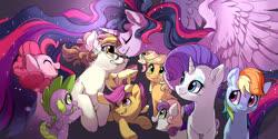 Size: 1400x700 | Tagged: safe, artist:drtuo4, apple bloom, applejack, fluttershy, pinkie pie, rainbow dash, rarity, scootaloo, spike, sweetie belle, twilight sparkle, oc, alicorn, dragon, earth pony, pegasus, pony, unicorn, spoiler:s09e26, crying, cutie mark crusaders, female, glasses, male, mane seven, mane six, mare, princess twilight 2.0, twilight sparkle (alicorn), winged spike