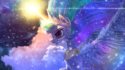 Size: 3840x2160   Tagged: safe, artist:etherium-apex, princess celestia, the crystalling, 3d, cloud, glowing horn, horn, scene interpretation, signature, snow, solo, spread wings, wings