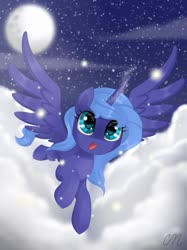 Size: 1024x1366 | Tagged: safe, artist:sunshineshiny, princess luna, alicorn, pony, cloud, cute, female, filly, flying, lunabetes, night, open mouth, s1 luna, sky, solo, spread wings, starry night, stars, wings, woona, younger
