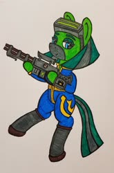 Size: 1024x1551 | Tagged: safe, artist:dice-warwick, oc, oc:temboril tablature, fallout equestria, bedroom eyes, boots, clothes, fallout equestria: scout sizzle cymbal, goggles, jumpsuit, mirage pony, pipbuck, railgun, shoes