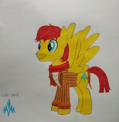 Size: 3010x3088 | Tagged: safe, artist:bsw421, flash magnus, pegasus, pony, clothes, cutie mark, jacket, scarf, smiley face, traditional art, wings
