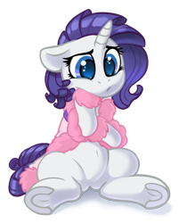 Size: 3000x3724 | Tagged: safe, artist:dimfann, rarity, pony, unicorn, series:pony re-watch, suited for success, bathrobe, clothes, colored pupils, crossed arms, cute, feather boa, female, floppy ears, high res, mare, messy mane, pouting, raribetes, robe, simple background, sitting, slippers, solo, transparent background, underhoof