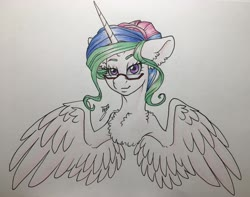 Size: 3837x3024 | Tagged: safe, artist:tillie-tmb, princess celestia, pony, alternate hairstyle, bust, glasses, hair bun, lidded eyes, looking at you, portrait, smiling, solo, spread wings, traditional art, wings