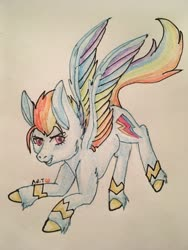 Size: 960x1280 | Tagged: safe, artist:artsy-angst, rainbow dash, pegasus, pony, leak, spoiler:g5, bracer, colored wings, female, g5, mare, multicolored wings, rainbow dash (g5), rainbow wings, redesign, solo, traditional art, wings