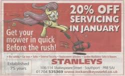 Size: 1566x947 | Tagged: safe, artist:gray--day, fluttershy, advertisement, lawn mower, newspaper, united kingdom