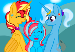 Size: 950x660 | Tagged: safe, artist:pichu1129, sunset shimmer, trixie, oc, family, female, lesbian, magical lesbian spawn, offspring, parent:sunset shimmer, parent:trixie, parents:suntrix, shipping, suntrix