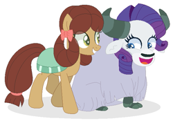 Size: 613x429 | Tagged: safe, artist:californsaishi001, artist:selenaede, rarity, yona, earth pony, pony, yak, she's all yak, base used, duo, eye clipping through hair, female, ponified, pony yona, role reversal, smiling, species swap, yakified, yakity