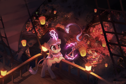 Size: 3000x2000 | Tagged: safe, artist:freeedon, oc, oc only, dragon, kirin, animated in description, boat, cheek fluff, chinese, chinese lantern, commission, ear fluff, female, harbor, kirin oc, lantern, magic, night, paper lantern, smiling, solo, telekinesis, town