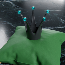 Size: 1536x1536 | Tagged: safe, artist:radiomann01, queen chrysalis, changeling, changeling queen, 3d, blender, close-up, crown, cushion, female, jewelry, regalia, render