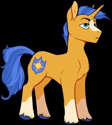 Size: 832x932   Tagged: safe, artist:spectralthestrals, oc, oc only, oc:lieutenant apollo, pony, unicorn, magical gay spawn, male, markings, offspring, parent:flash sentry, parent:sunburst, parents:flashburst, simple background, solo, stallion, transparent background, unshorn fetlocks