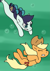 Size: 833x1185 | Tagged: safe, artist:cmara, applejack, coloratura, earth pony, pony, seapony (g4), applejack's hat, asphyxiation, bubble, cowboy hat, drowning, eyes closed, female, hat, lesbian, mare, parody, rarajack, seaponified, seapony coloratura, shipping, species swap, swimming, the little mermaid, underwater, water