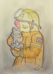 Size: 689x965 | Tagged: safe, artist:daisymane, fluttershy, anthro, koala, australian bushfires, duo, female, fire suit, firefighter, firefighter helmet, helmet, holding, looking at something, three quarter view, traditional art