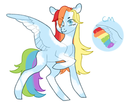 Size: 990x793 | Tagged: safe, artist:jellybeanbullet, rainbow dash, pegasus, pony, leak, spoiler:g5, female, g5, mare, rainbow dash (g5), redesign, simple background, solo, white background