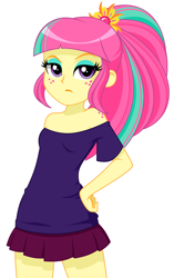 Size: 846x1350 | Tagged: safe, artist:rosemile mulberry, sour sweet, equestria girls, bare shoulders, body freckles, breasts, clothes, cute, female, freckles, hand on hip, lidded eyes, miniskirt, pleated skirt, ponytail, shoulder freckles, simple background, skirt, solo, white background