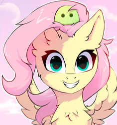 Size: 1600x1700 | Tagged: safe, artist:glazirka, fluttershy, pegasus, pony, bust, chest fluff, female, full face view, grin, looking at you, mare, outline, portrait, sitting on head, smiling, solo, spread wings, white outline, wings