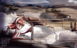 Size: 2700x1700 | Tagged: safe, artist:elmutanto, oc, oc only, oc:crimson lullaby, unicorn, battlefield, female, mare, panzer iv, red and white mane, red eyes, smoke, tanks, unicorn oc, world war ii