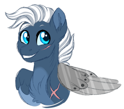 Size: 1024x903 | Tagged: safe, artist:azure-art-wave, oc, oc:silverwind, pony, amputee, artificial wings, augmented, bust, portrait, prosthetic limb, prosthetic wing, prosthetics, scar, simple background, solo, transparent background, wings