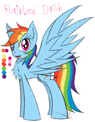Size: 900x1150 | Tagged: safe, artist:didun850, rainbow dash, pegasus, pony, backwards cutie mark, chest fluff, female, mare, open mouth, reference sheet, signature, simple background, smiling, solo, transparent background